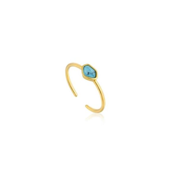 Ania Haie Mineral Glow Turquoise Adjustable Ring Gold Tone Sterling Silver Koser Jewelers Mount Joy, PA