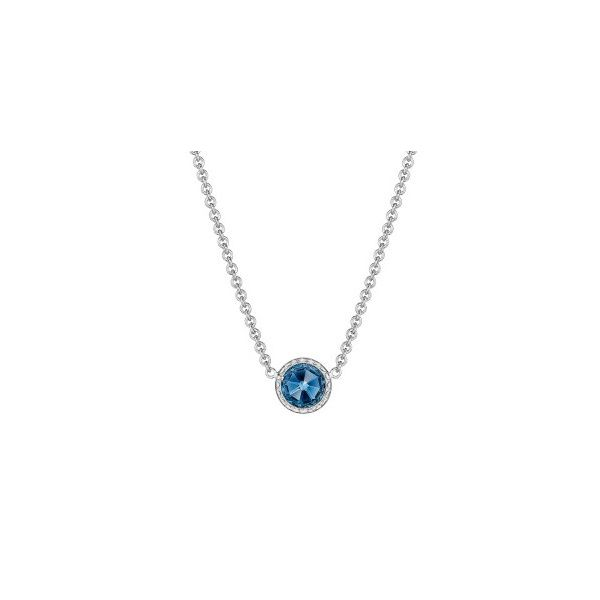 Tacori Petite Floating Bezel London Blue Topaz Necklace Koser Jewelers Mount Joy, PA