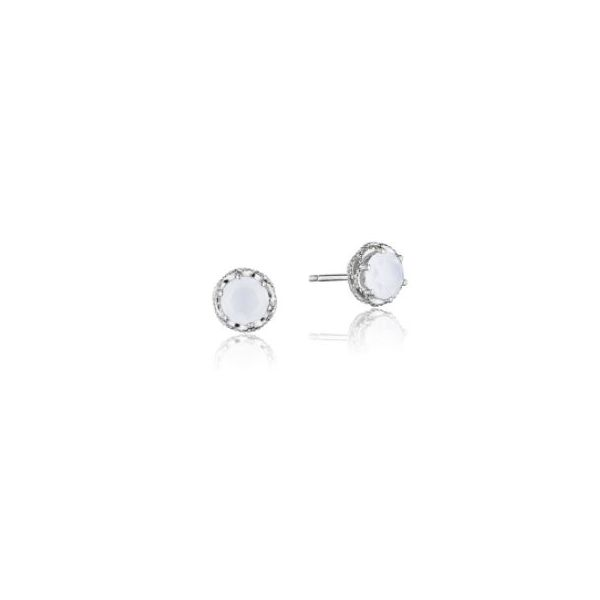 Tacori Petite Crescent Crown Chalcedony Studs Koser Jewelers Mount Joy, PA