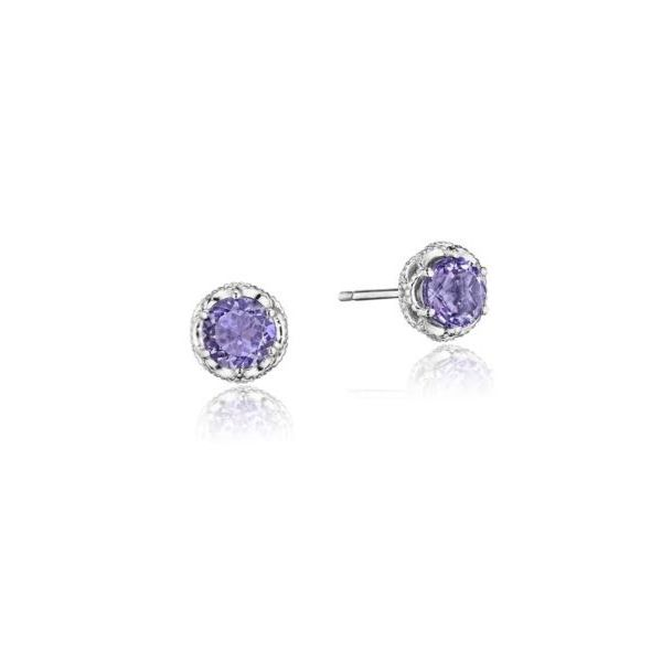 Tacori Petite Crescent Crown Amethyst Stud Earrings Koser Jewelers Mount Joy, PA