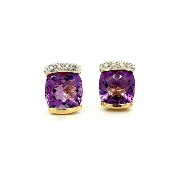 Cushion Cut Amethyst & Diamond Stud Earrings Koser Jewelers Mount Joy, PA