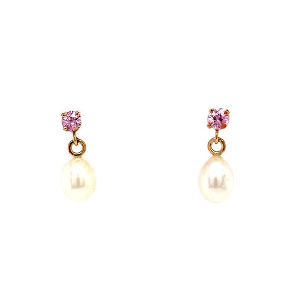 Pink Spinel & Pearl Dangle Earrings Koser Jewelers Mount Joy, PA
