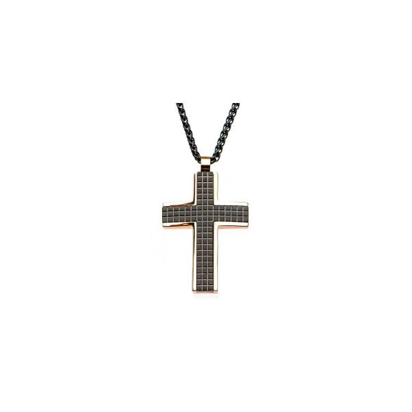Inox Men's Black & Rose Tone Cross Necklace Stainless Koser Jewelers Mount Joy, PA