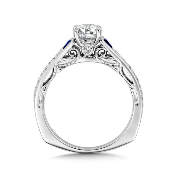 14K Diamond & Sapphire Engagement Ring Setting Image 2 Kiefer Jewelers Lutz, FL