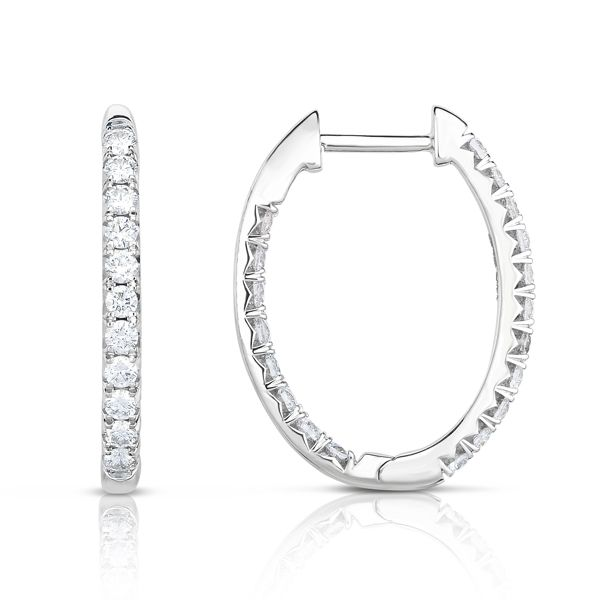 14K Oval Diamond Hoops Kiefer Jewelers Lutz, FL
