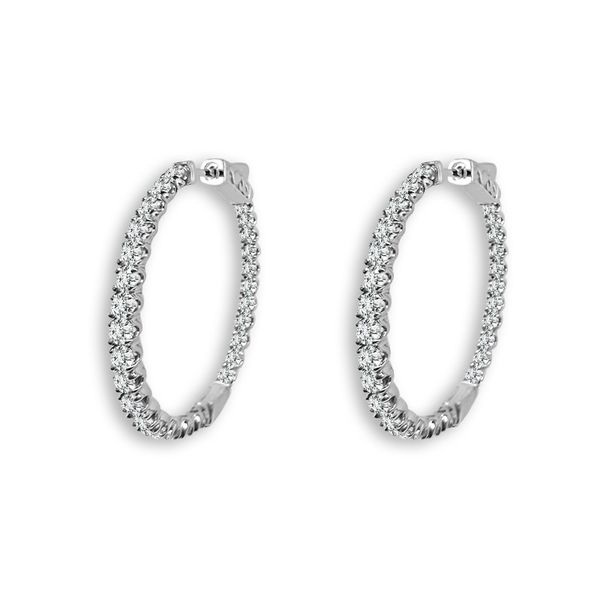14K 1 1/8ctw Inside Out Diamond Hoops Kiefer Jewelers Lutz, FL