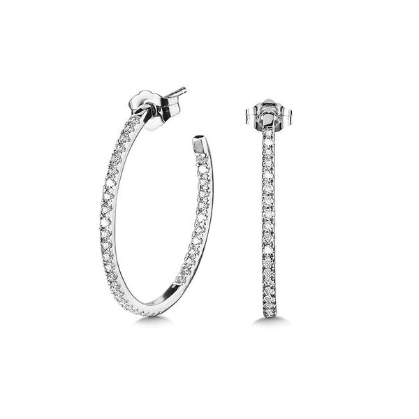 14K Med Diamond Hoops Kiefer Jewelers Lutz, FL