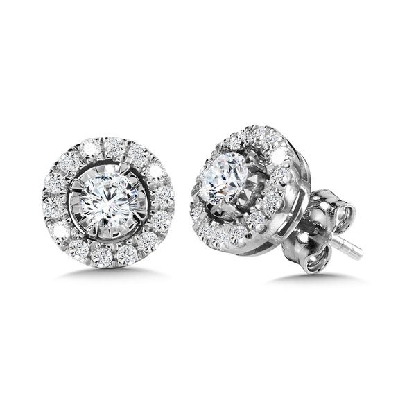 14KW .75ctw Dia Halo Earrings Kiefer Jewelers Lutz, FL