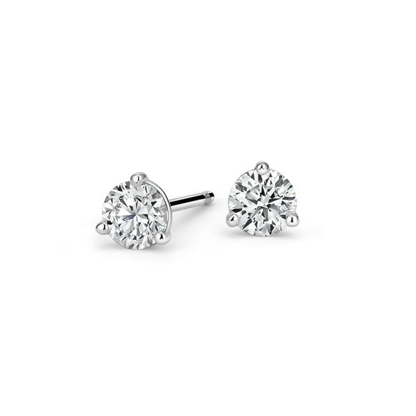 14K White Gold  2.00ctw Color: I-J, Clarity:I1 3 Prong Diamond Stud Earrings Kiefer Jewelers Lutz, FL