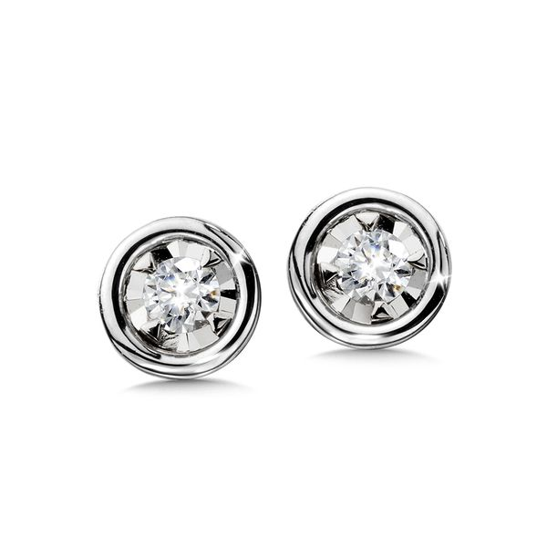14KW .10CTW Diamond Bezel Set Stud Earrings Kiefer Jewelers Lutz, FL