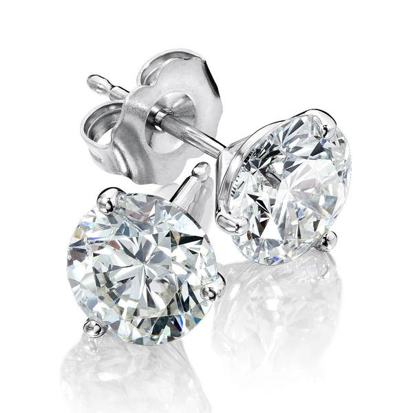 14KW .75CTW 3 Prong diamond stud earrings Image 2 Kiefer Jewelers Lutz, FL