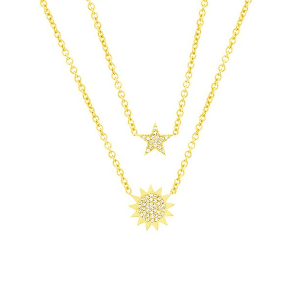 14K Diamond Pave' Sun & Star Necklace Kiefer Jewelers Lutz, FL