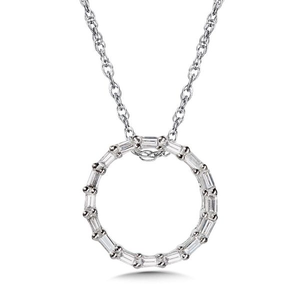 14KW Diamond Baguette Circle of Life Necklace Kiefer Jewelers Lutz, FL