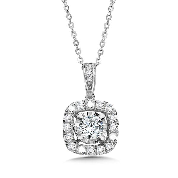 14KW .75ctw Cushion Diamond Halo Necklace Kiefer Jewelers Lutz, FL
