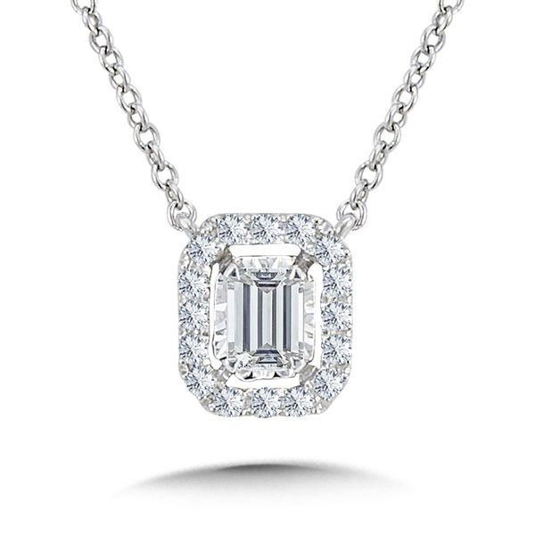 14KW .25ctw Diamond Emerald Cut Necklace Kiefer Jewelers Lutz, FL