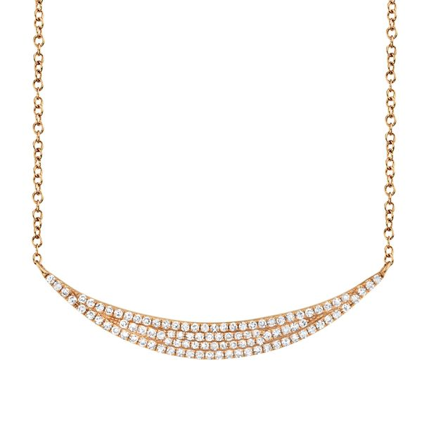 14K Rose Gold Diamond Crescent Necklace Kiefer Jewelers Lutz, FL