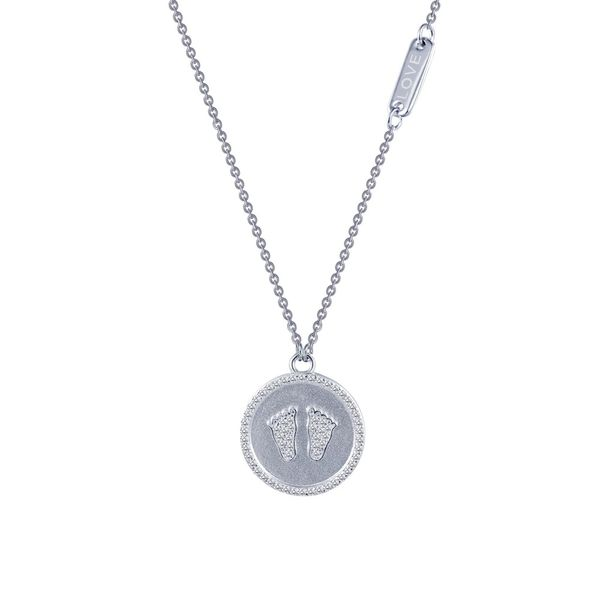 Lafonn Sterling Silver and CZ Baby Feet Necklace Kiefer Jewelers Lutz, FL