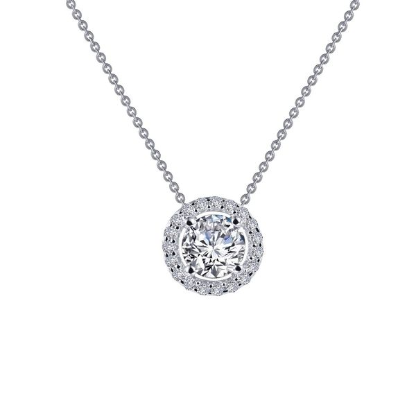 Lafonn Sterling Silver and CZ Round Halo Necklace Kiefer Jewelers Lutz, FL