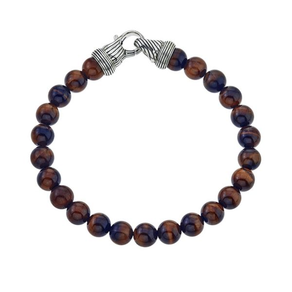Men's Red Tiger Eye Bead Bracelet Kiefer Jewelers Lutz, FL