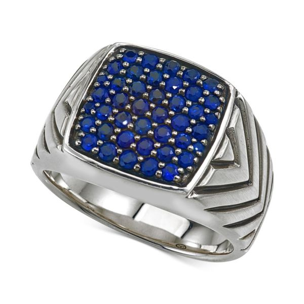 Men's Sapphire Cluster Ring Kiefer Jewelers Lutz, FL