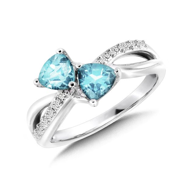 Sterling Silver Blue Topaz & Diamond Ring Kiefer Jewelers Lutz, FL