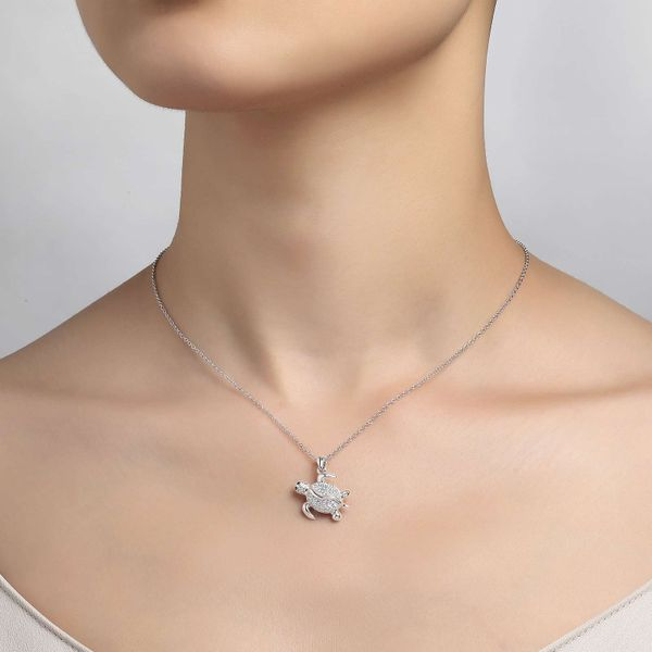 Sterling Silver Simulated Diamond Turtle Necklace Image 2 Kiefer Jewelers Lutz, FL