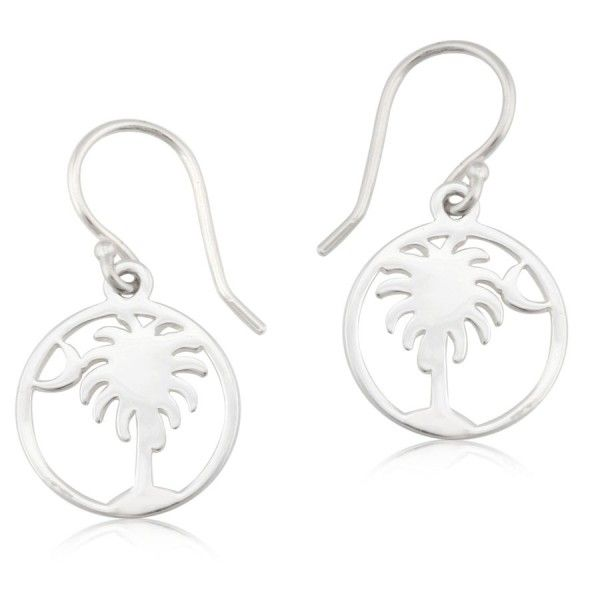 Sterling Silver Palmetto Tree & Moon Earrings Kiefer Jewelers Lutz, FL
