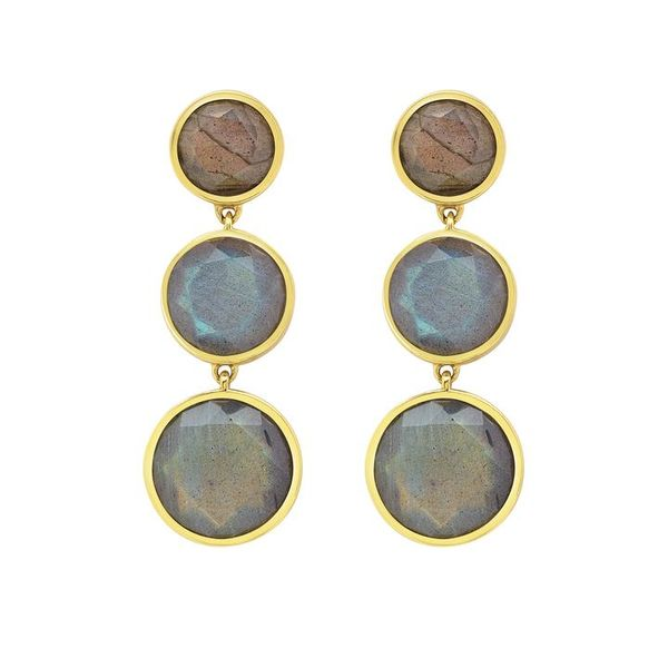 Labradorite Mesh Iconic Tripple Drop Earrings Kiefer Jewelers Lutz, FL
