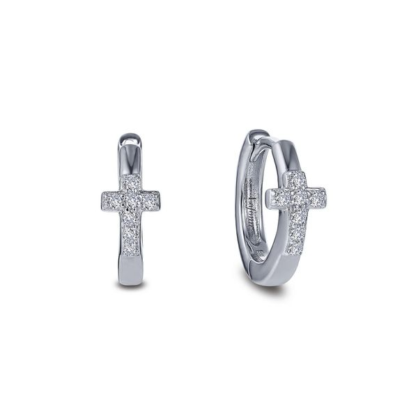 Lafonn Pave Cross Huggies Kiefer Jewelers Lutz, FL