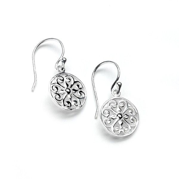 Sterling Silver Round Heart Earrings Kiefer Jewelers Lutz, FL