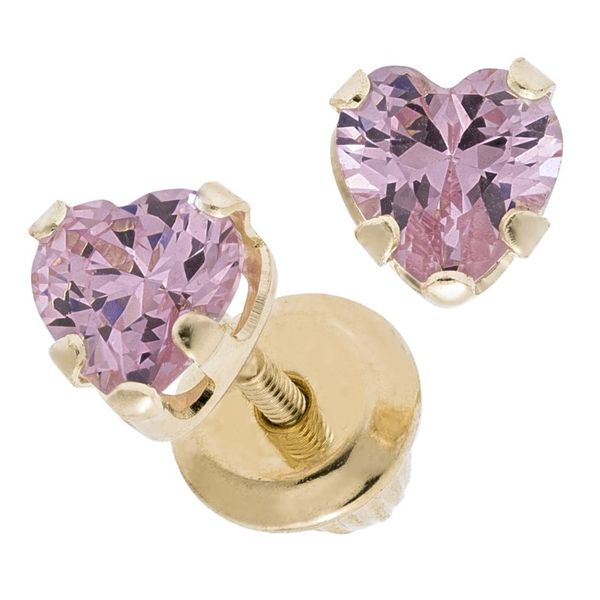 14K Pink Heart Earrings Image 2 Kiefer Jewelers Lutz, FL