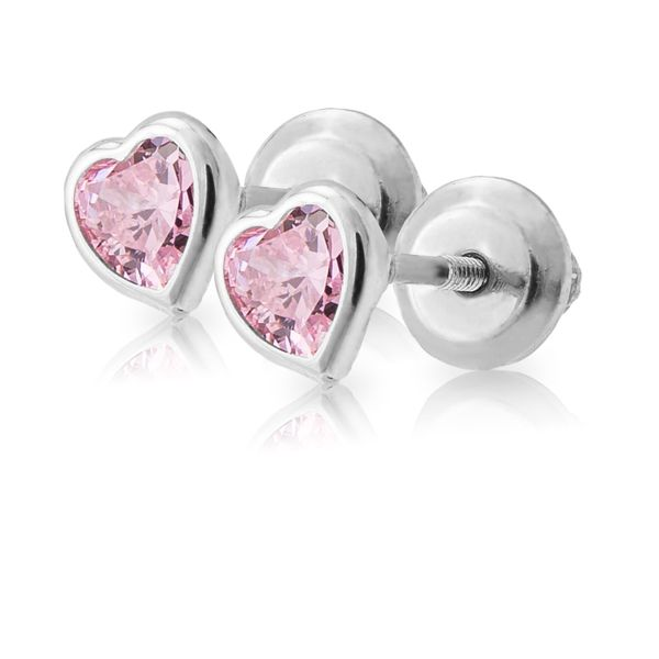 Sterling Pink Heart Earrings Image 2 Kiefer Jewelers Lutz, FL