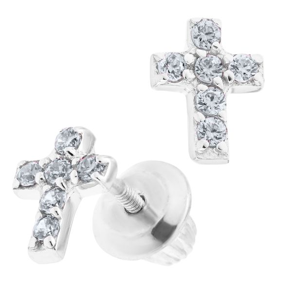 Children's CZ Cross Earrings Image 2 Kiefer Jewelers Lutz, FL
