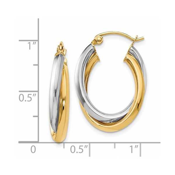 14K 2-Tone Double Hoop Earrings Image 2 Kiefer Jewelers Lutz, FL