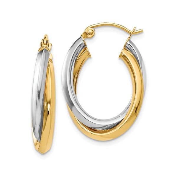 14K 2-Tone Double Hoop Earrings Kiefer Jewelers Lutz, FL