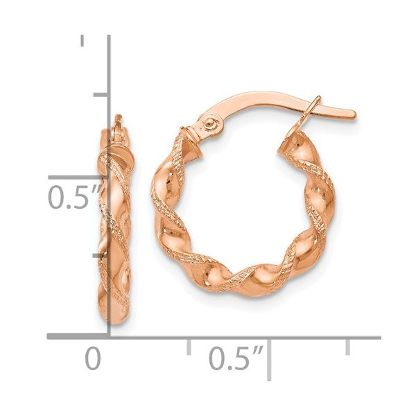 14K Rose Twisted Hoop Earrings Image 2 Kiefer Jewelers Lutz, FL