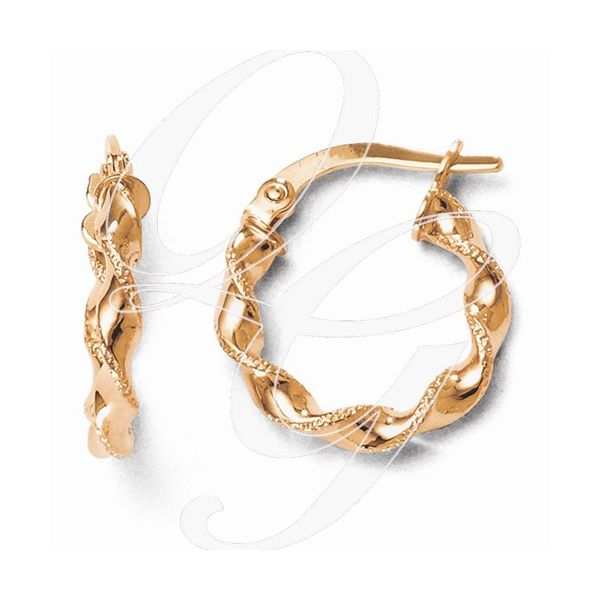 14K Rose Twisted Hoop Earrings Kiefer Jewelers Lutz, FL