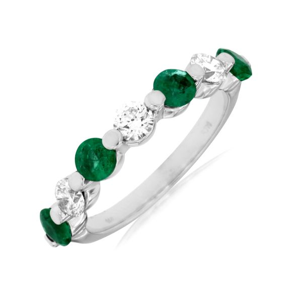 14 K White Gold Emerald and Diamond Gemstone Ring Kiefer Jewelers Lutz, FL