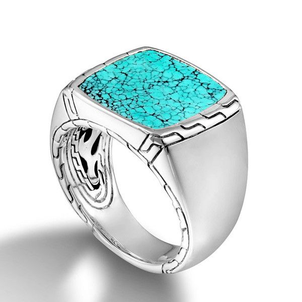 John Hardy Classic Chain Signet Ring with Turquoise Kiefer Jewelers Lutz, FL