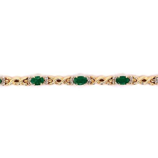 Estate Emerald & Diamond Bracelet Image 2 Kiefer Jewelers Lutz, FL