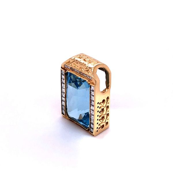 Estate Blue Topaz & Diamond Pendant Image 2 Kiefer Jewelers Lutz, FL