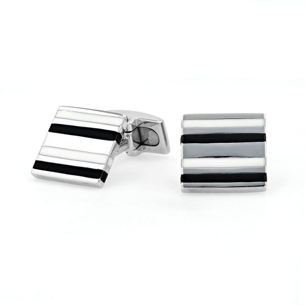 STG Hoxton London Cuff Links with White and Black Strips La Mine d'Or Moncton, NB