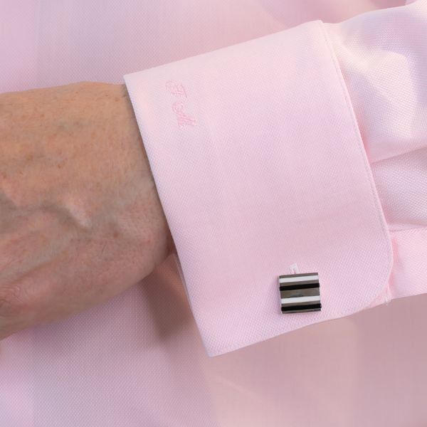 STG Hoxton London Cuff Links with White and Black Strips Image 2 La Mine d'Or Moncton, NB
