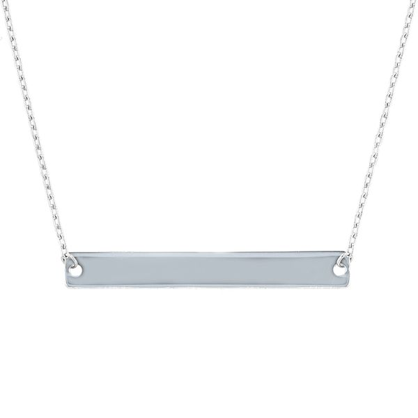 14kt White Gold Small Bar Necklace La Mine d'Or Moncton, NB