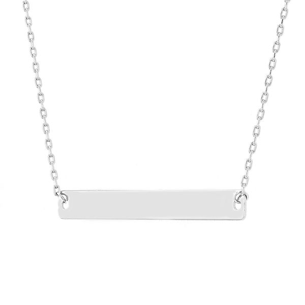 14kt White Gold Small Bar Necklace Image 2 La Mine d'Or Moncton, NB