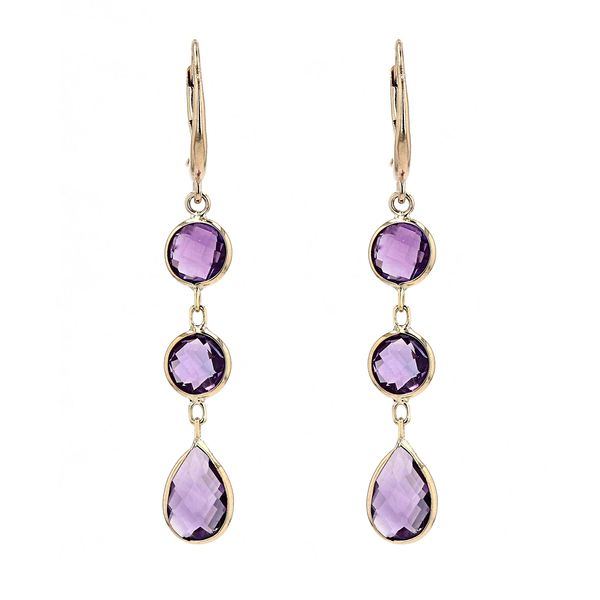 14kt Yellow Gold Drop Earrings With Genuine Amethyst La Mine d Or Moncton, NB