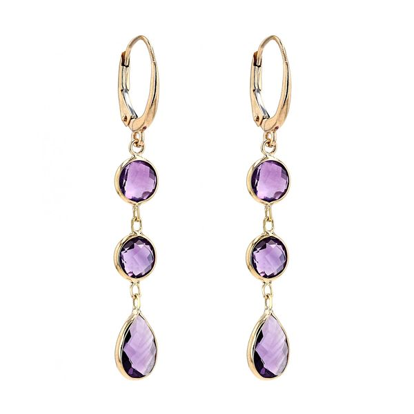 14kt Yellow Gold Drop Earrings With Genuine Amethyst Image 2 La Mine d Or Moncton, NB