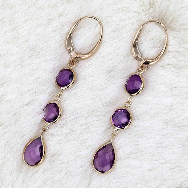 14kt Yellow Gold Drop Earrings With Genuine Amethyst Image 3 La Mine d Or Moncton, NB