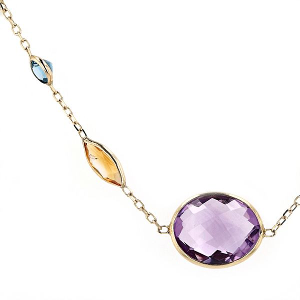 14kt Yellow Gold Necklace With Semi Precious Gemstones Image 2 La Mine d'Or Moncton, NB