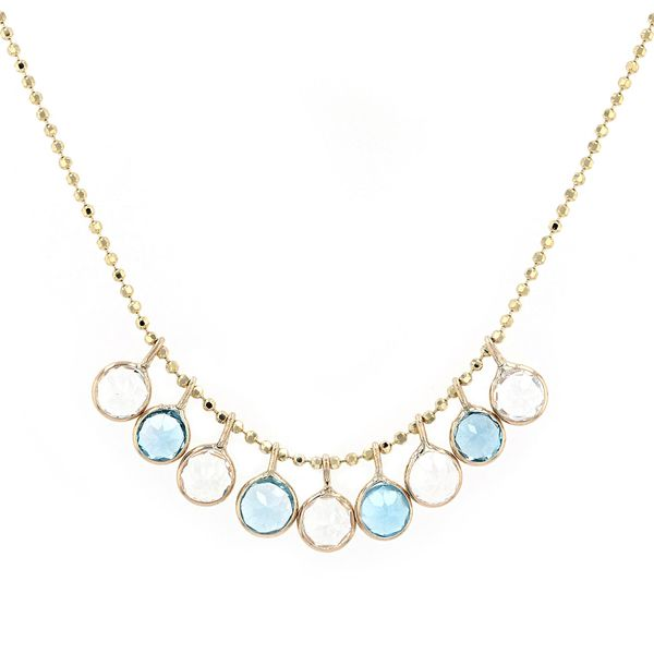 14kt Necklace With Blue And White Dancing Topaz Drops La Mine d'Or Moncton, NB